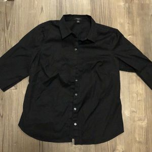 Ann Taylor size 14P black half sleeve button down